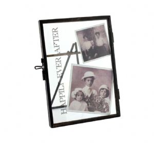"Happily Ever After ~ 6 X 4"" Vintage Black Metal and Glass Photo Clip Frame"
